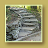 Natural stone staircase built into a hill