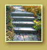 Rigid stone staircase adds beautiful hardscape element to flowing shrubs of landscape.